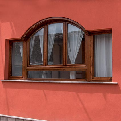 Wood arched window