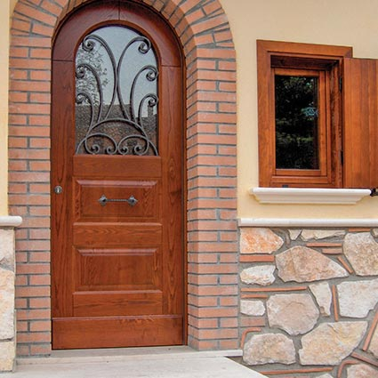 Wood external door with iron